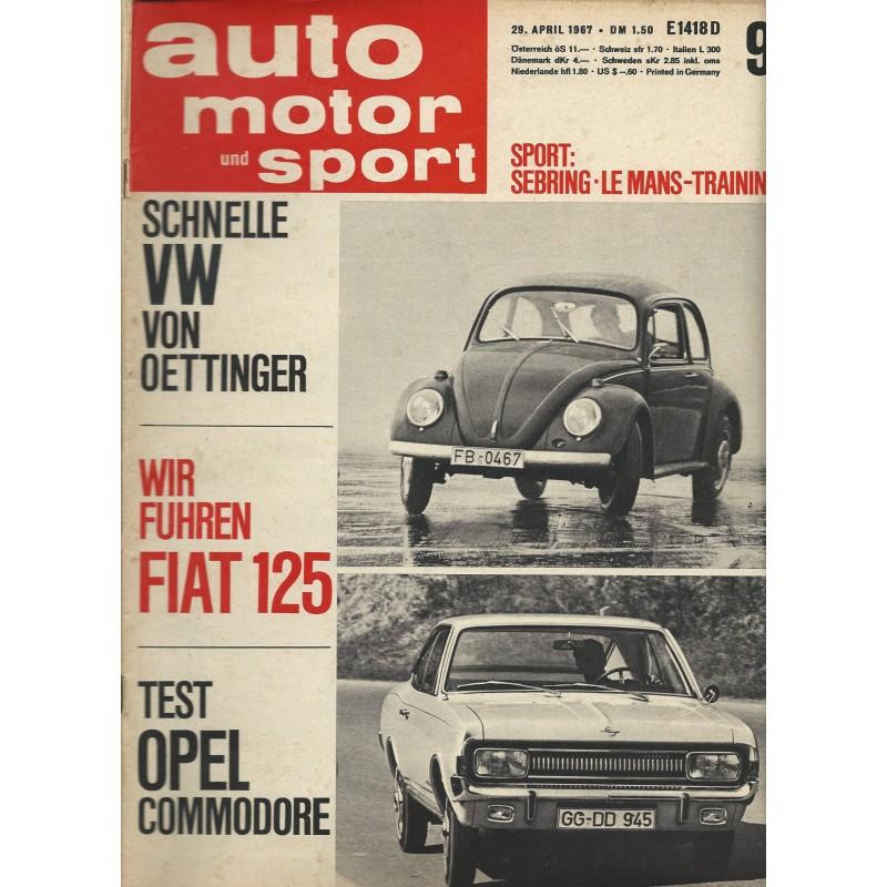 auto motor & sport Heft 9 / 29 April 1967 - Schnelle VW von Oettinger