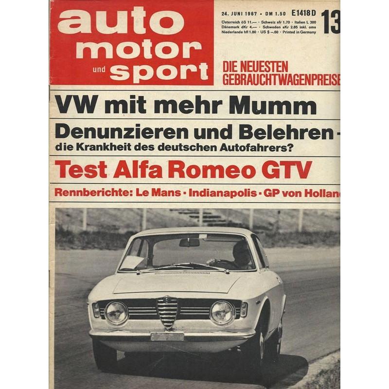 auto motor & sport Heft 13 / 24 Juni 1967 - Test Alfa Romeo GTV