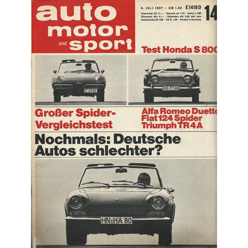 auto motor & sport Heft 14 / 8 Juli 1967 - Deutsche Autos schlechter?