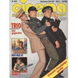 CINEMA 9/85 September 1985 - TRIO. Drei gegen Drei