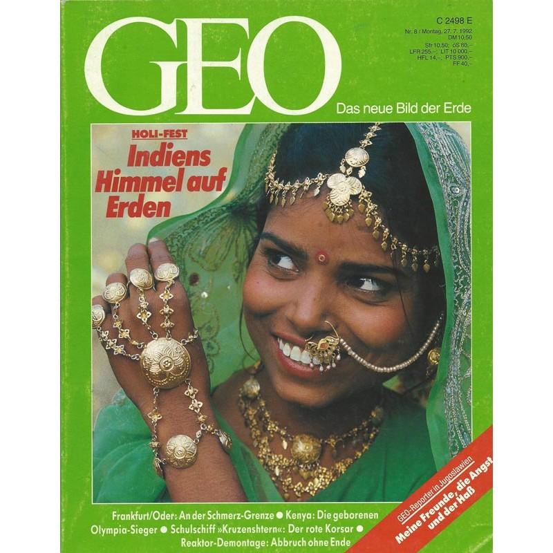 Geo Nr. 8 / August 1992 - Indiens Himmel auf Erden