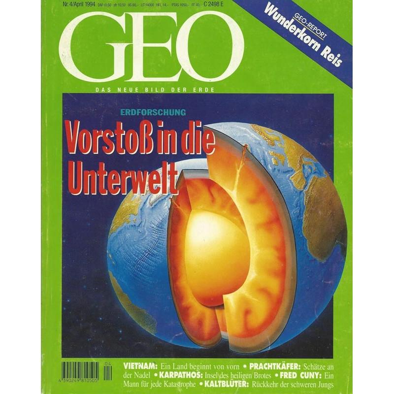 Geo Nr. 4 / April 1994 - Vorstoß in die Unterwelt