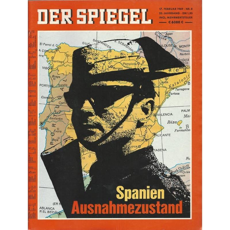 Der Spiegel Nr.8 / 17 Februar 1969 - Spanien Ausnahmezustand