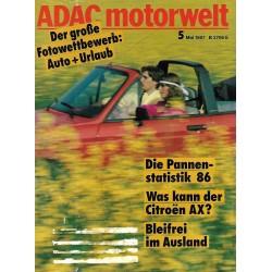 ADAC Motorwelt Heft.5 / Mai 1987 - Auto + Urlaub