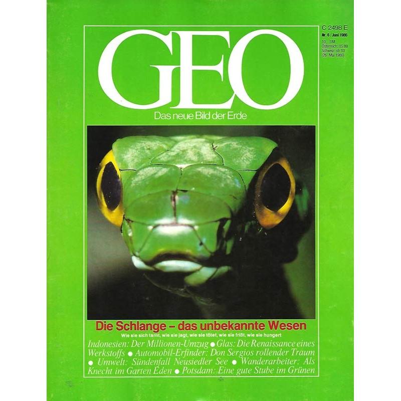 Geo Nr. 6 / Juni 1986 - Die Schlange, das unbekannte Wesen