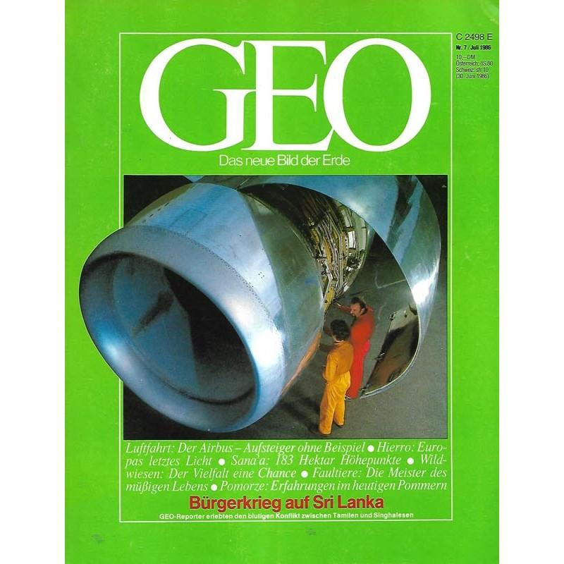 Geo Nr. 7 / Juli 1986 - Luftfahrt, der Airbus
