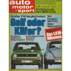 auto motor & sport Heft 21 / 12 Oktober 1974 - Golf oder Käfer?