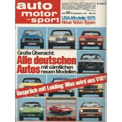 auto motor & sport Heft 20 / 28 September 1974 - Alle deutschen Autos