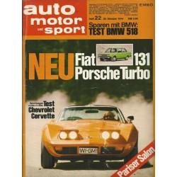 auto motor & sport Heft 22 / 26 Oktober 1974 - Test Chevrolet Corvette