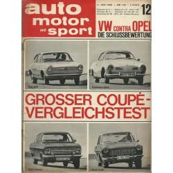 auto motor & sport Heft 12 / 11 Juni 1966 - Coupé Vergleichstest
