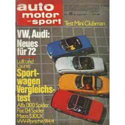 auto motor & sport Heft 18 / 28 August 1971 - Sportwagen Vergleichstest