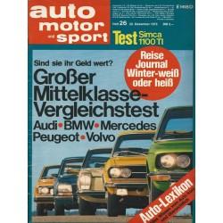 auto motor & sport Heft 26 / 22 Dezember 1973 - Großer Mittelklasse