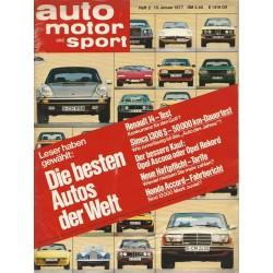 auto motor & sport Heft 2 / 19 Januar 1977 - Die besten Autos der Welt