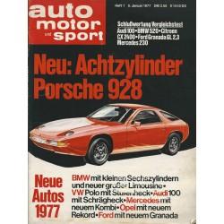auto motor & sport Heft 1 / 5 Januar 1977 - Achtzylinder Porsche 928