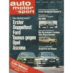 auto motor & sport Heft 12 / 9 Juni 1976 - Ford Taunus gegen Opel Ascona