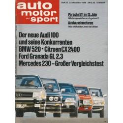 auto motor & sport Heft 26 / 22 Dezember 1976 - Der neue Audi 100