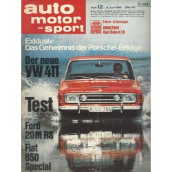 auto motor & sport Heft 12 / 8 Juni 1968 - Test Ford 20M RS
