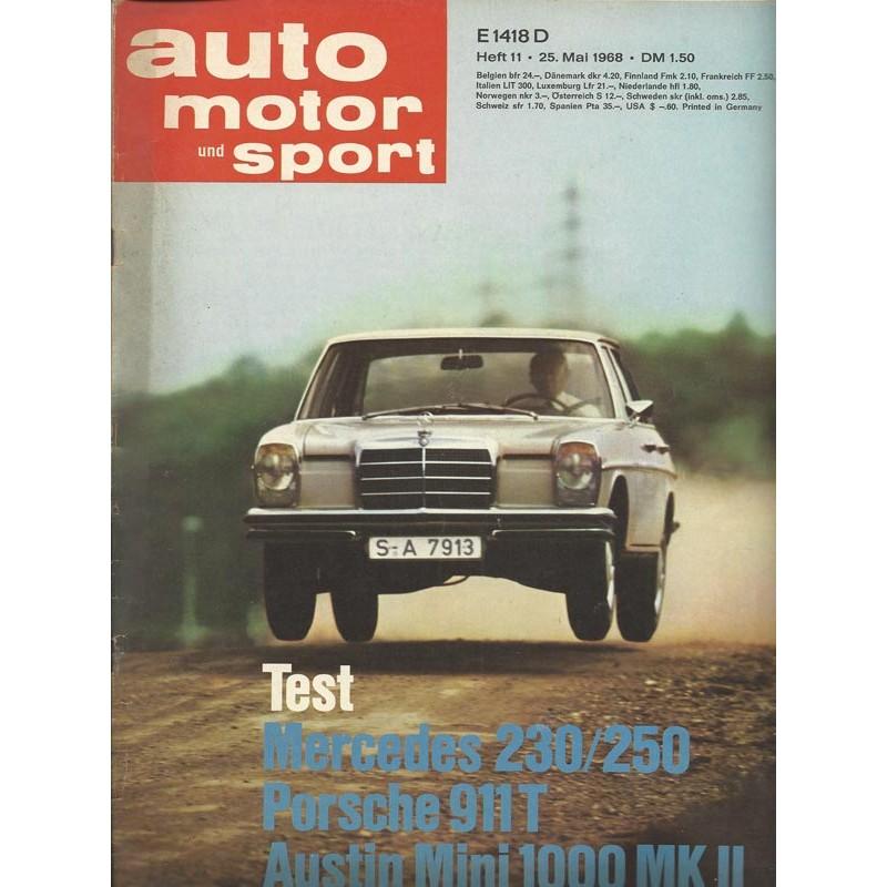 auto motor & sport Heft 11 / 25 Mai 1968 - Test Mercedes 230/250