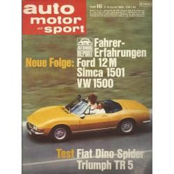 auto motor & sport Heft 16 / 3 August 1968 - Fiat Dino Spider Triumph TR5