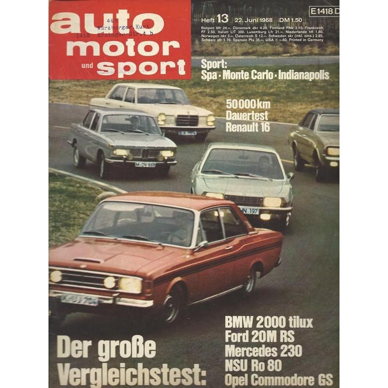auto motor & sport Heft 13 / 22 Juni 1968 - BMW 2000 tilux