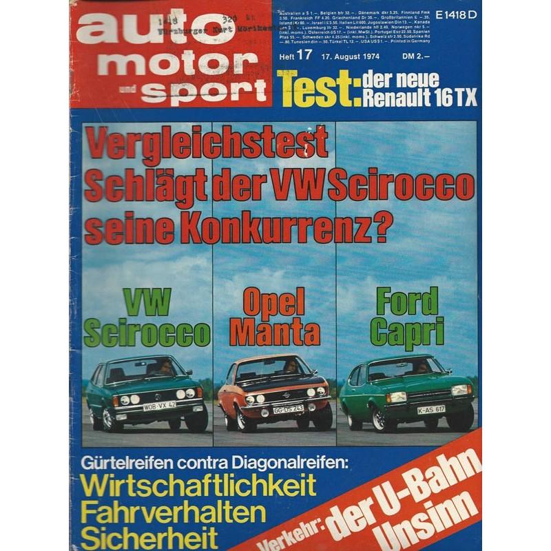 auto motor & sport Heft 17 / 17 August 1974 - VW Scirocco