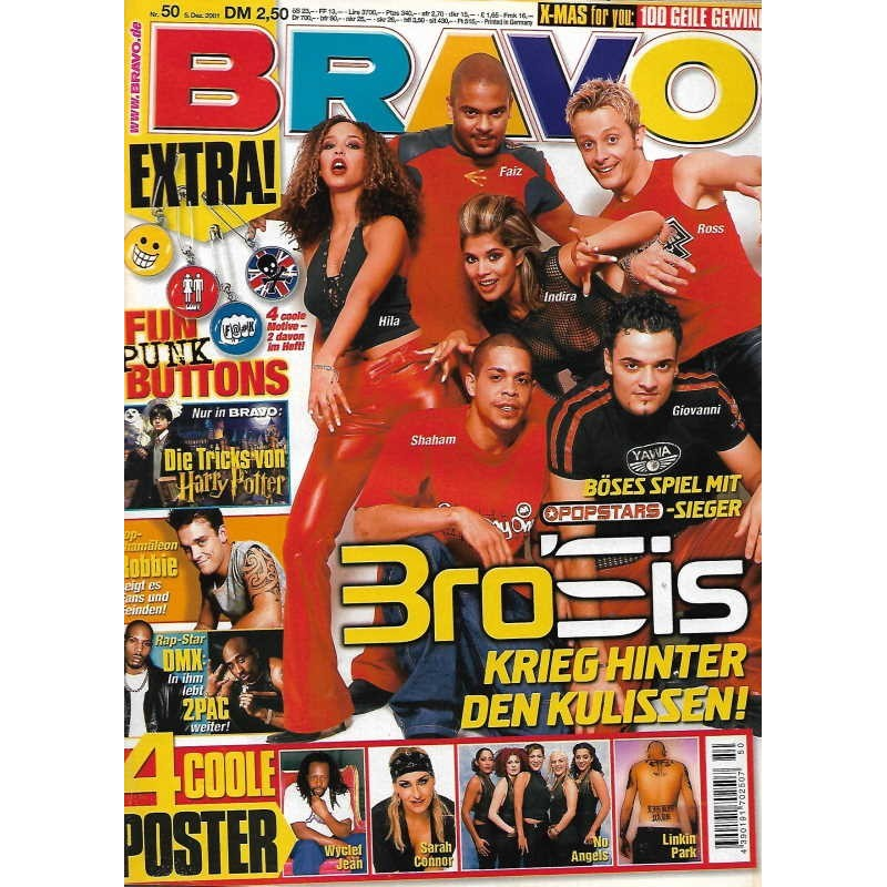 BRAVO Nr.50 / 5 Dezember 2001 - Popstars Bro Sis