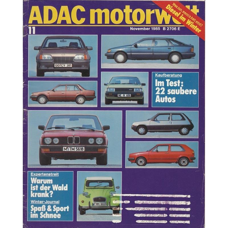 ADAC Motorwelt Heft.11 / November 1985 - Im Test: 22 saubere Autos