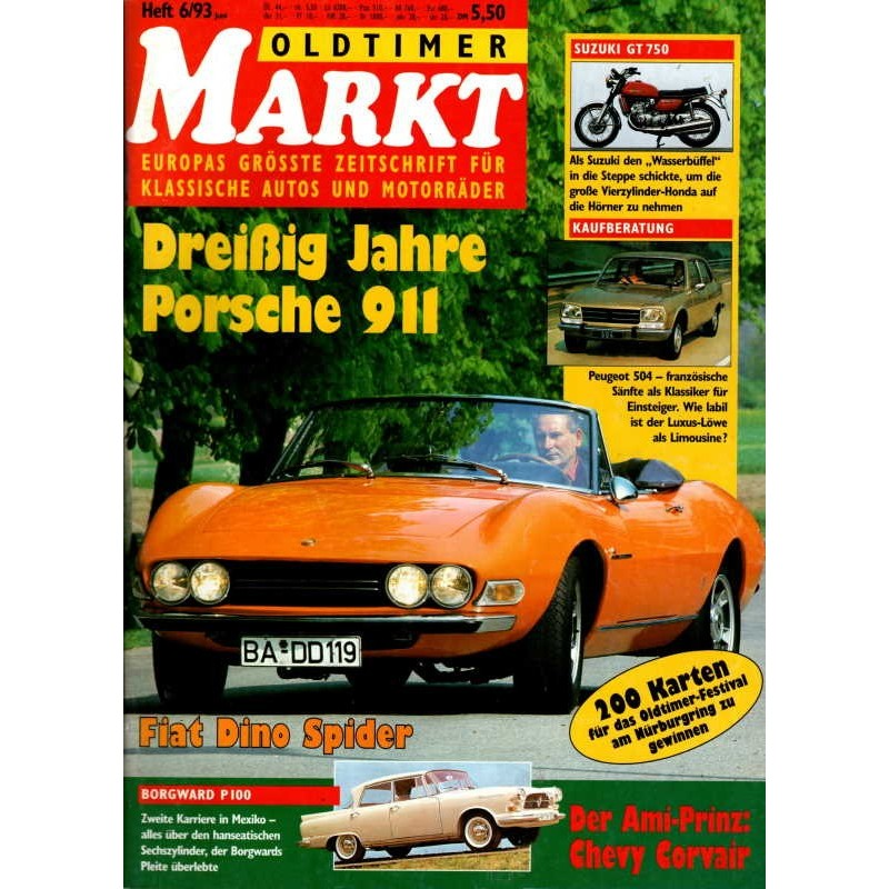 Oldtimer Markt Heft 6/Juni 1993 - Fiat Dino Spider