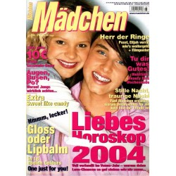 Mädchen Nr.26 / 3 Dezember 2003 - Liebes Horoskop 2004