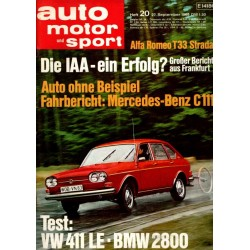 auto motor & sport Heft 20 / 27 September 1969 - VW 411 LE