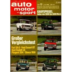auto motor & sport Heft 12 / 7 Juni 1969 - Großer Vergleichstest