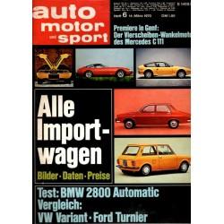 auto motor & sport Heft 6 / 14 März 1970 - Alle Importwagen