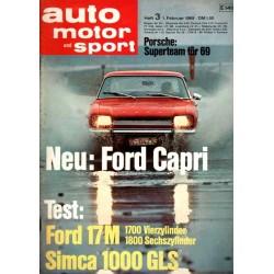auto motor & sport Heft 3 / 1 Februar 1969 - Ford Capri