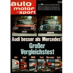 auto motor & sport Heft 26 / 20 Dezember 1969 - Audi vs. Mercedes