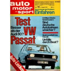 auto motor & sport Heft 16 / 4 August 1973 - Test VW Passat