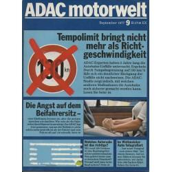 ADAC Motorwelt Heft.9 / September 1977 - Tempolimit bringt nicht mehr als Richtgeschwindigkeit
