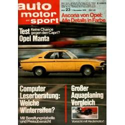 auto motor & sport Heft 23 / 7 November 1970 - Opel Manta