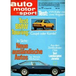 auto motor & sport Heft 17 / 14 Aug. 1971 - Lamborghini Jarama