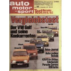 auto motor & sport Heft 26 / 21 Dezember 1974 - Vergleichstest