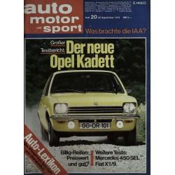 auto motor & sport Heft 20 / 29 September 1973 - Opel Kadett