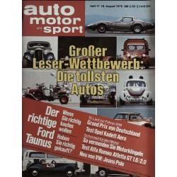 auto motor & sport Heft 17 / 18 August 1976 - Die tollsten Autos