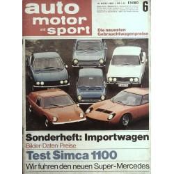 auto motor & sport Heft 6 / 16 März 1968 - Importwagen
