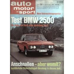 auto motor & sport Heft 26 / 21 Dezember 1968 - BMW 2500