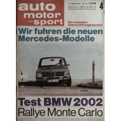 auto motor & sport Heft 4 / 17 Februar 1968 - Test BMW 2002