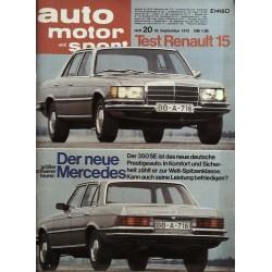 auto motor & sport Heft 20 / 30 Sep. 1972 - Mercedes 350 SE