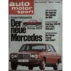 auto motor & sport Heft 3 / 31 Januar 1976 - Mercedes 200 bis 280 E