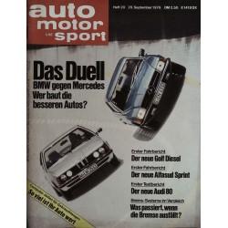 auto motor & sport Heft 20 / 29 September 1976 - Das Duell