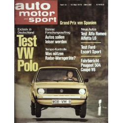 auto motor & sport Heft 10 / 10 Mai 1975 - Test VW Polo