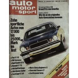 auto motor & sport Heft 22 / 27 Okt. 1976 - Chevrolet Camaro