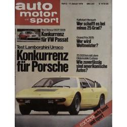 auto motor & sport Heft 2 / 17 Januar 1976 - Lamborghini Urraco